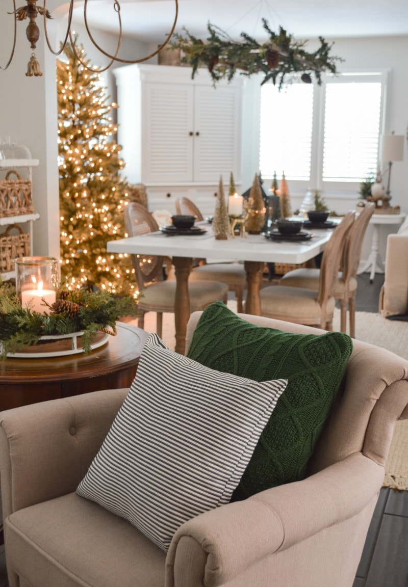 cozy cottage living room decorated for Christmas