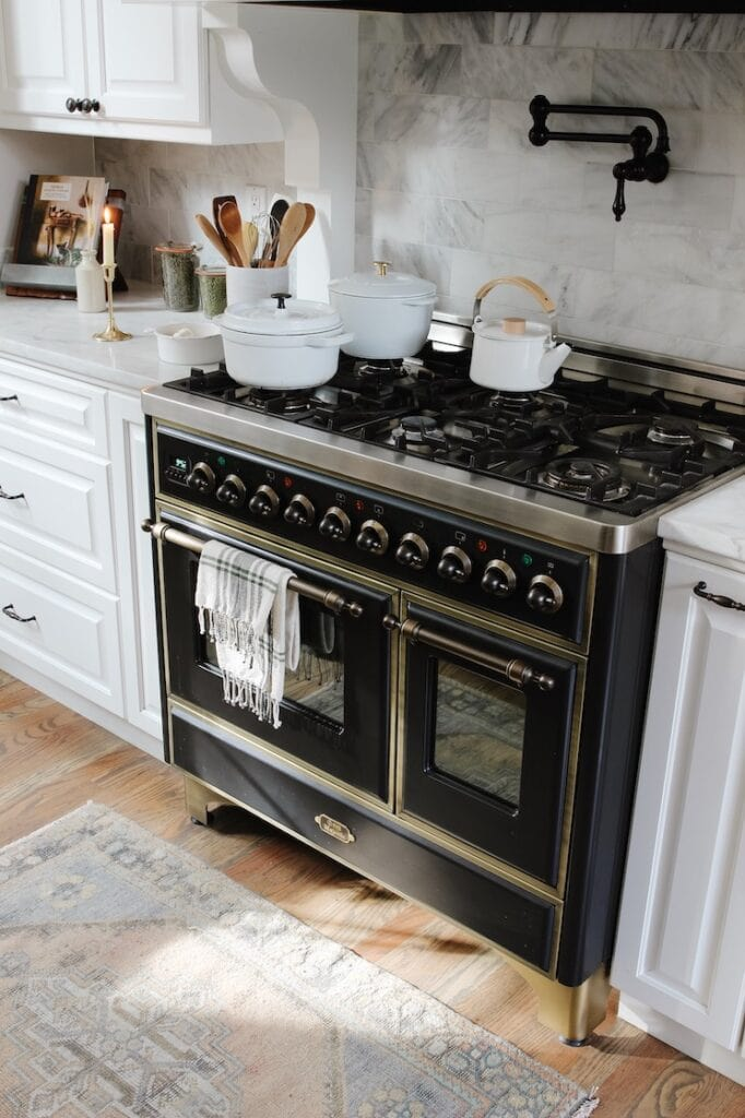 black Italian stove in a European style kitchen