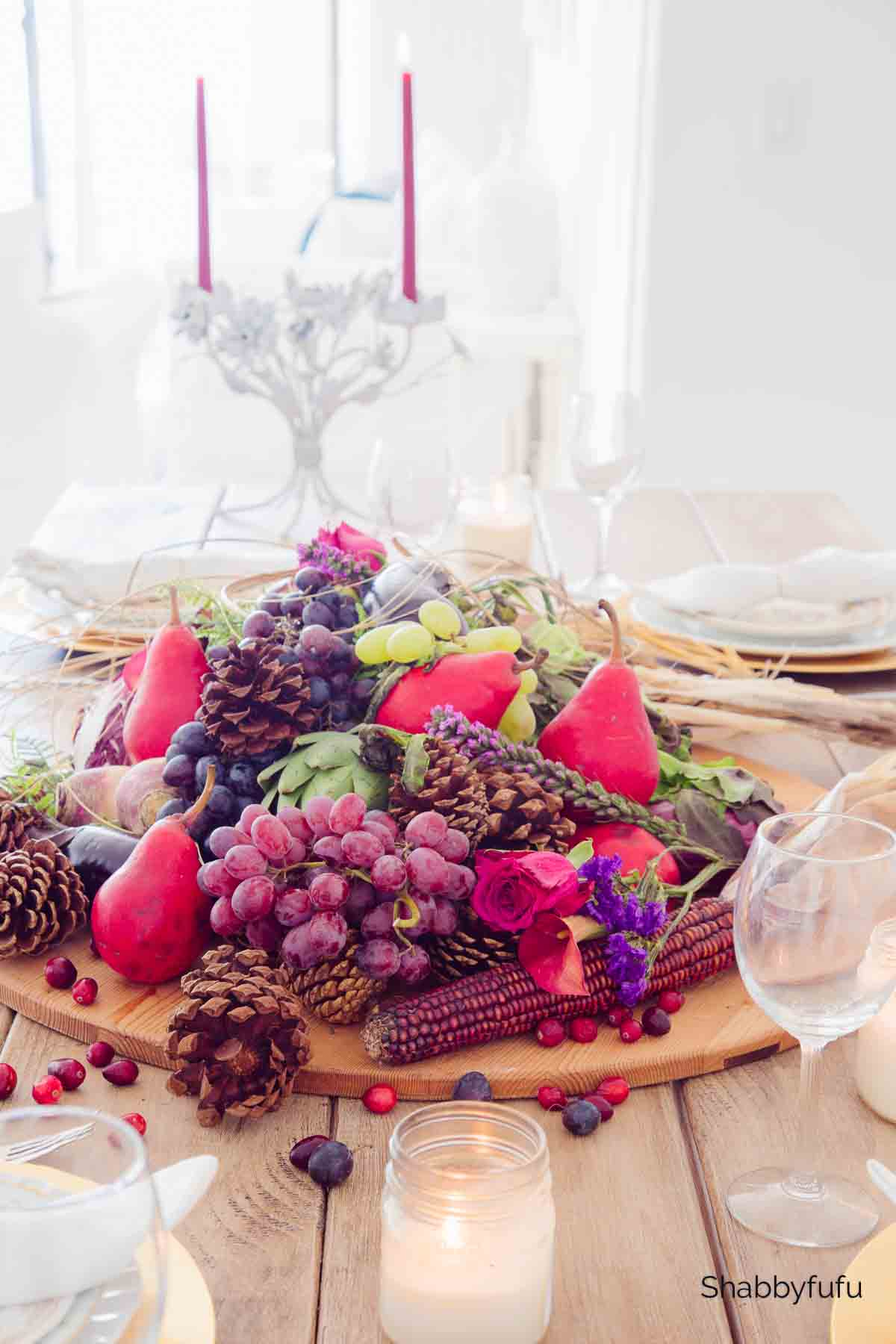 natural Thanksgiving table centerpiece with vegetables