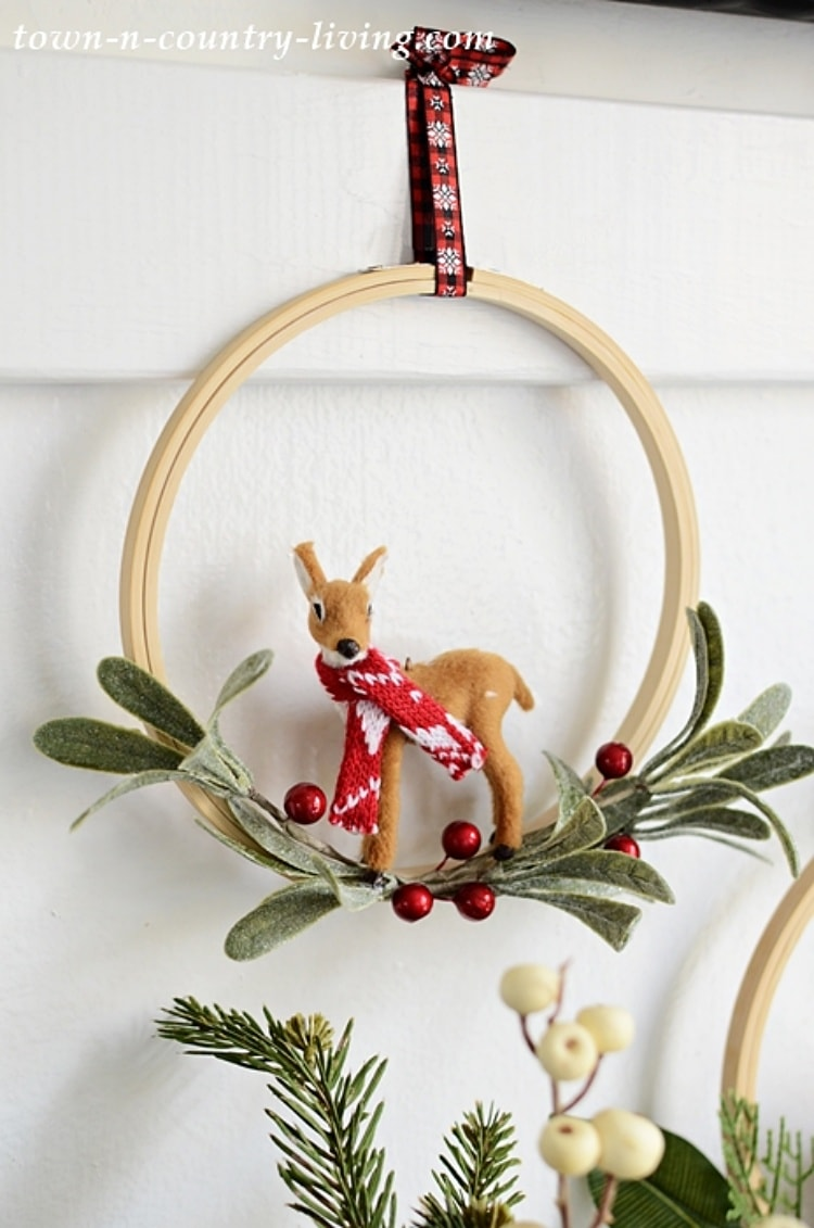 Christmas embroidery hoop wreath with a deer on it