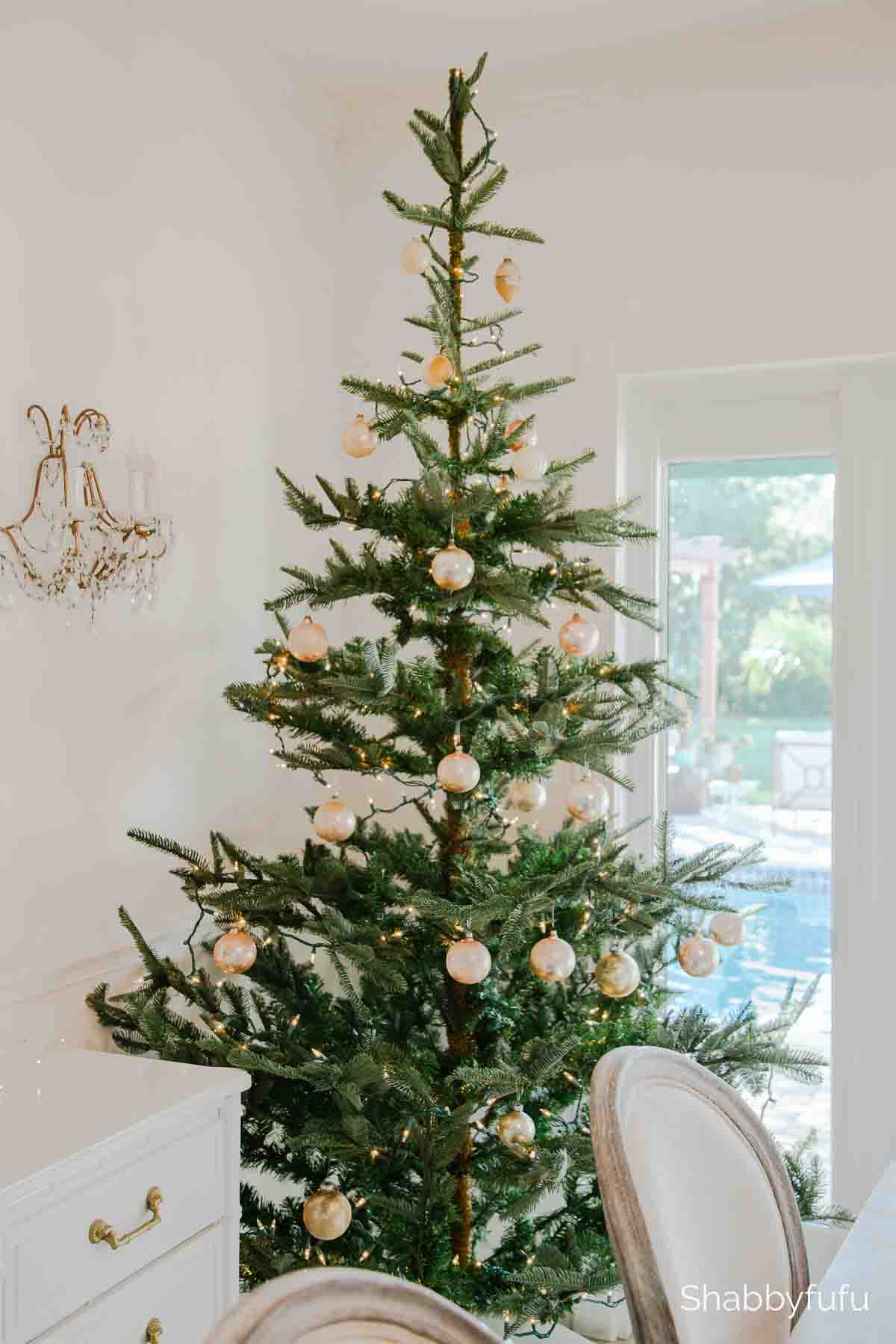 simple elegant Christmas home tour noble fir tree