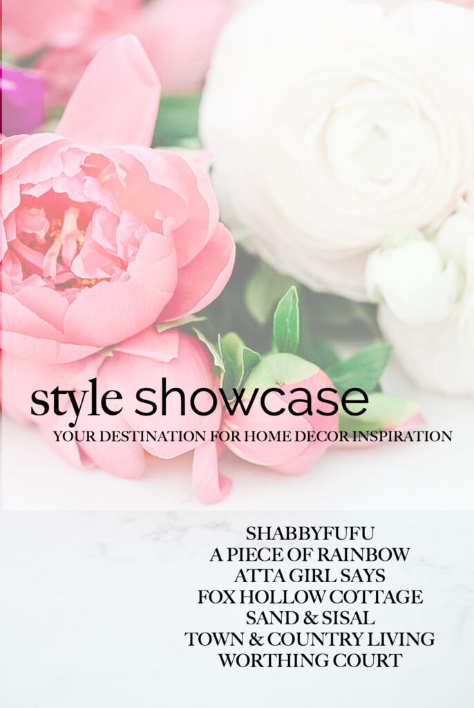 "faded photo of pink and white roses with a text overlay reading ""style showcase"""