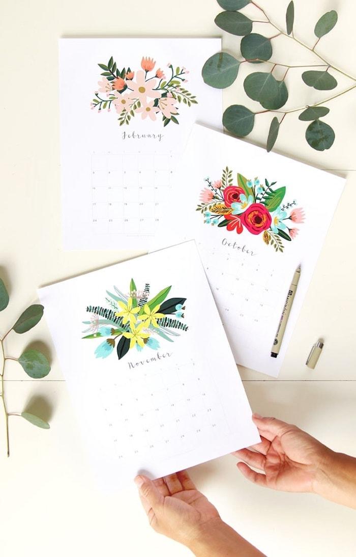 printable 2020 flower calendar