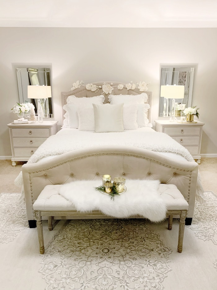 classic white home tour bedroom