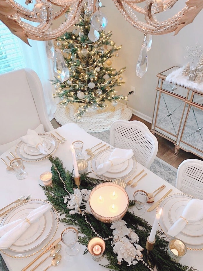 Christmas table setting in a classic white home tour