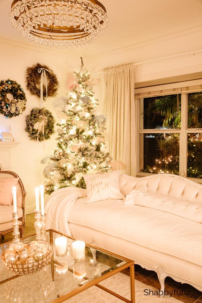 Christmas twinkle lights home tour living room