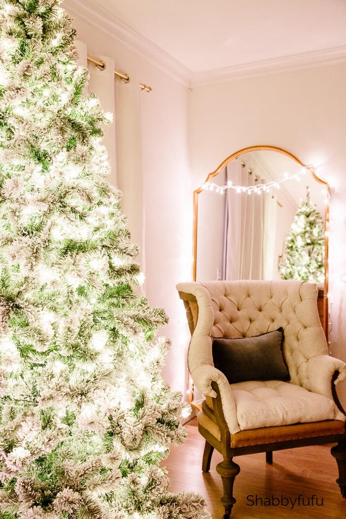 Christmas twinkle lights master bedroom