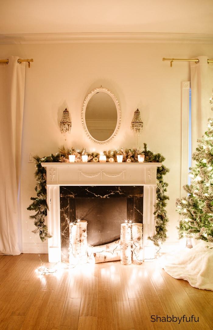 Christmas twinkle lights fireplace