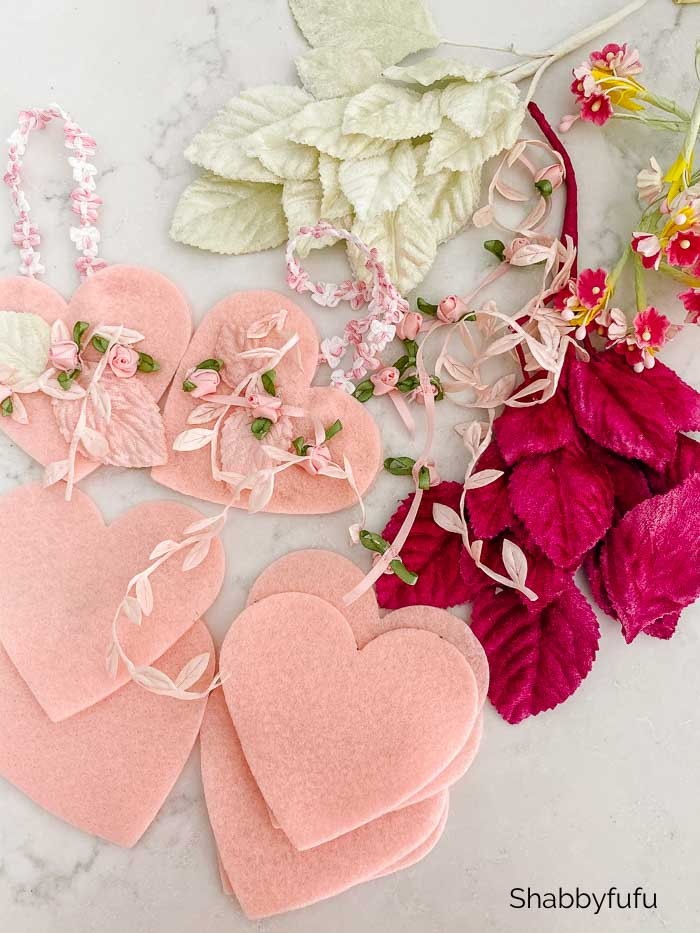romantic pink felted hearts and millinery