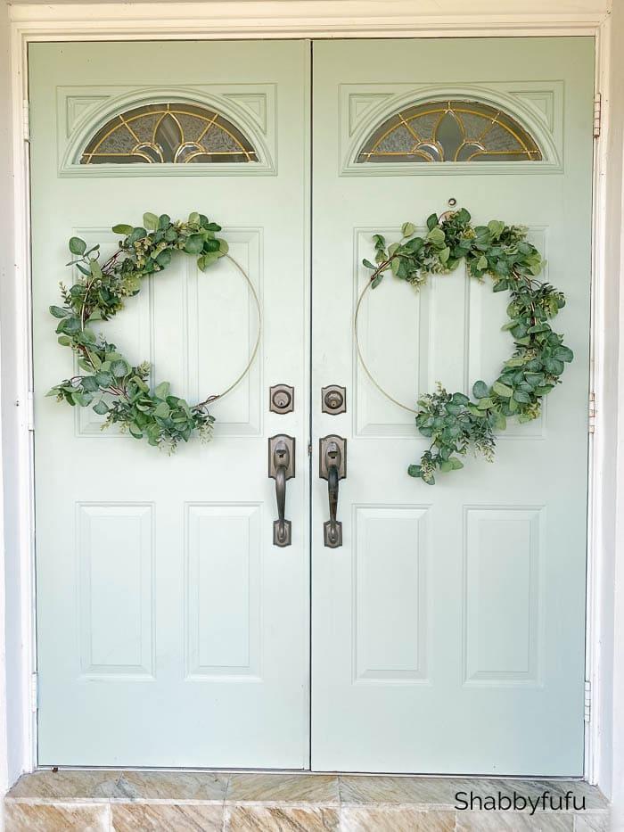 front door gold hoop wreaths