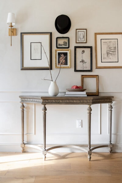 foyer table with gallery wall