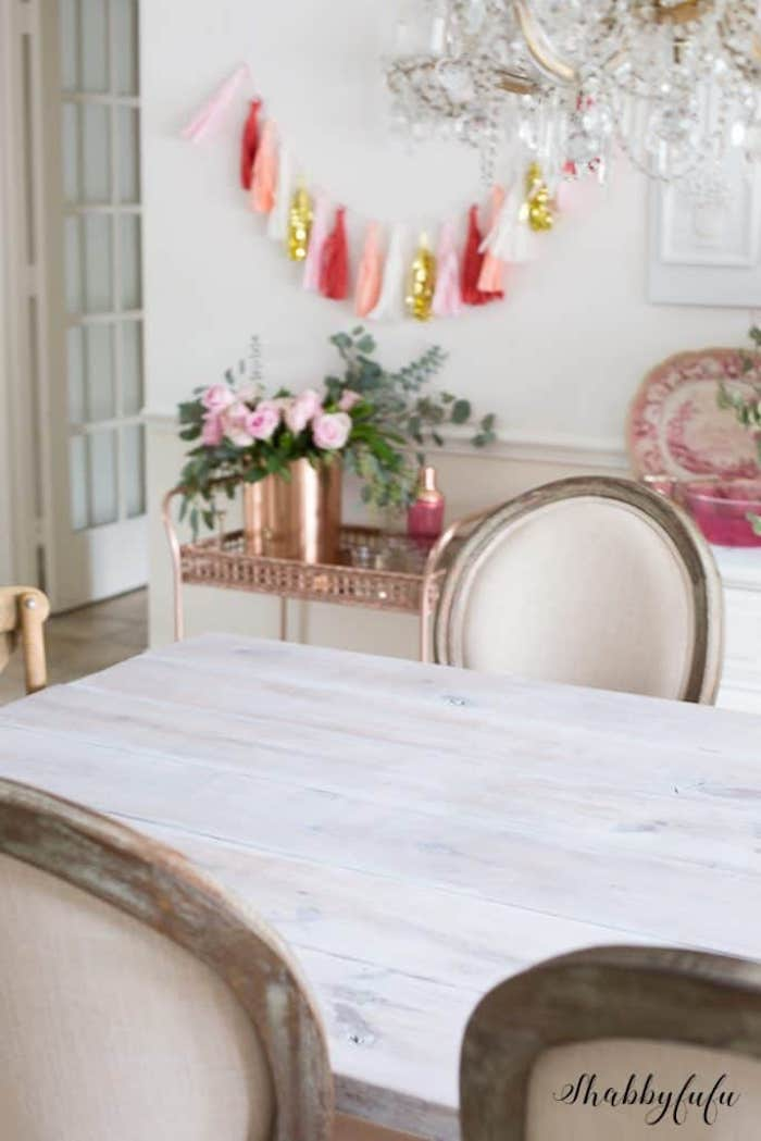 how to white wash a table quickly