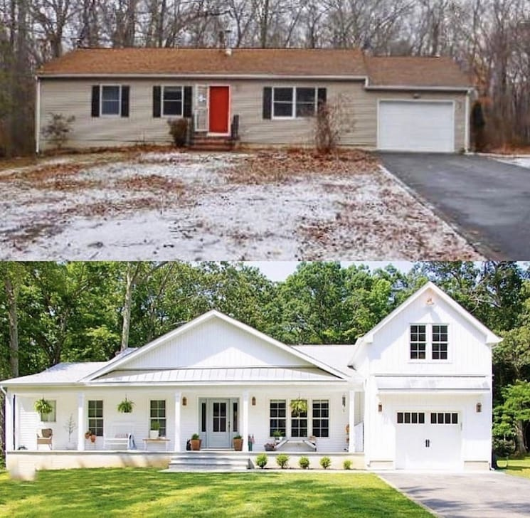modern European farmhouse before and after
