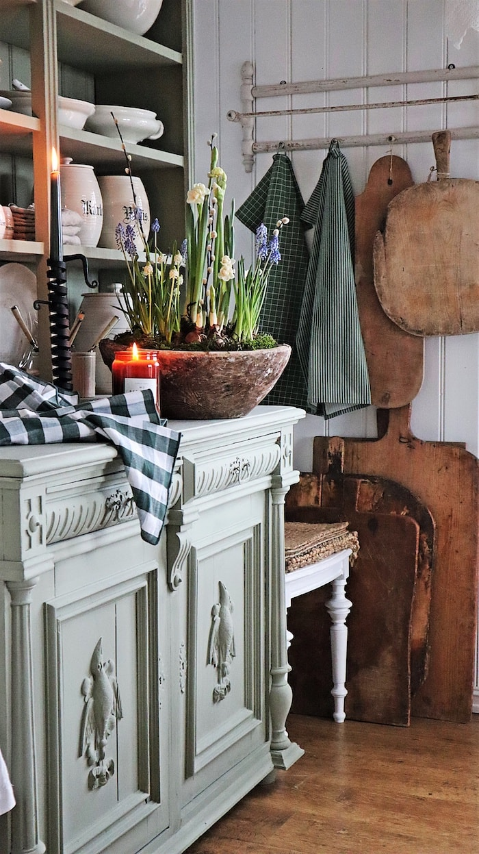 green chalk painted antique cabinet
