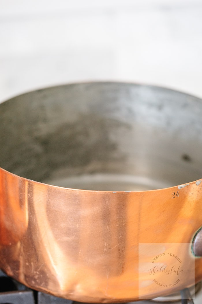 copper pot that needs to be retinned