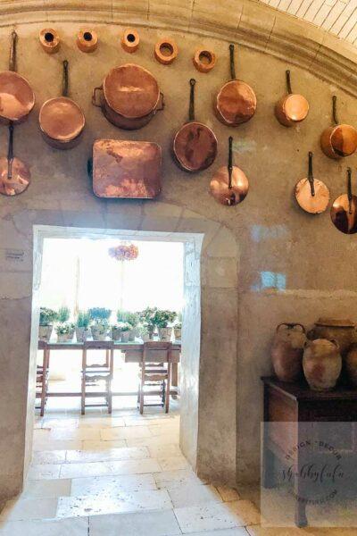 cooking with copper Chateau de Chenonceau kitchen