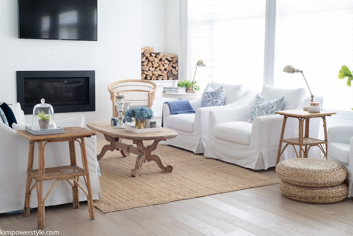 slipcovered sofas in a coastal living room