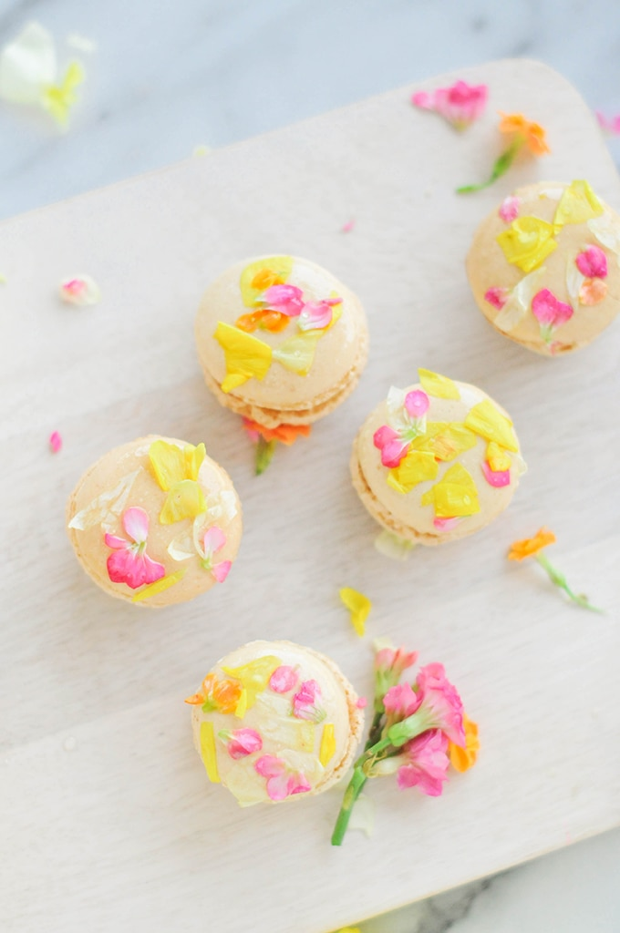 edible flower macarons