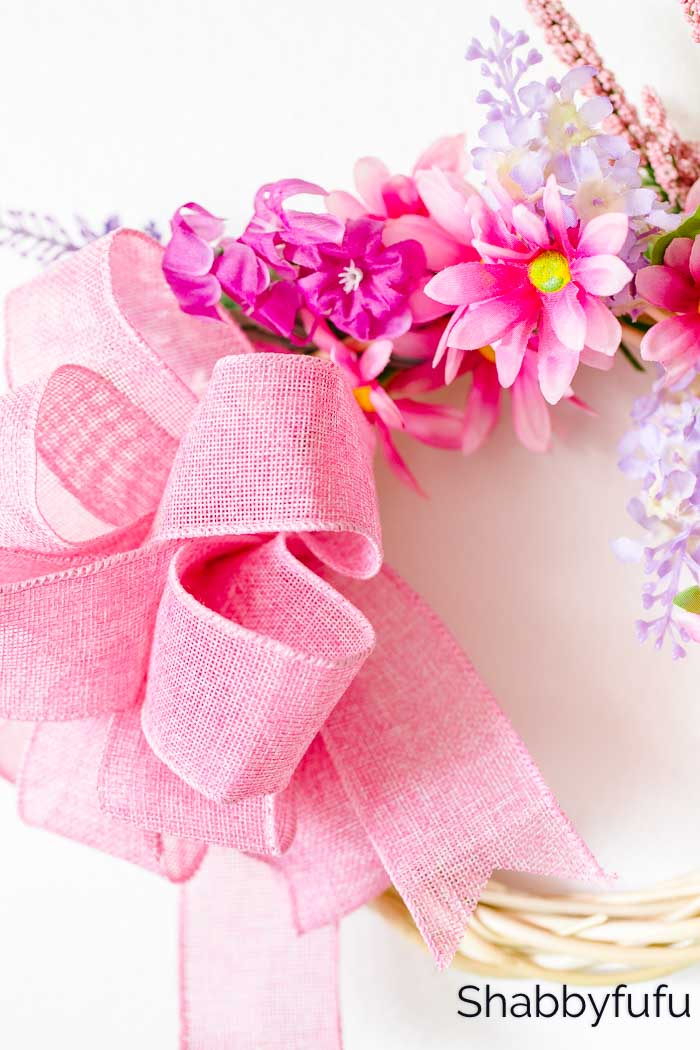 Dollar Tree spring wreath with a bow
