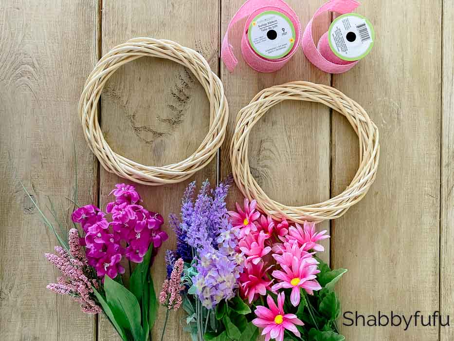 Dollar Tree spring wreath supplies