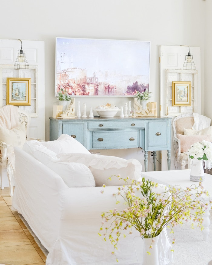 shabby chic cottage home tour living room