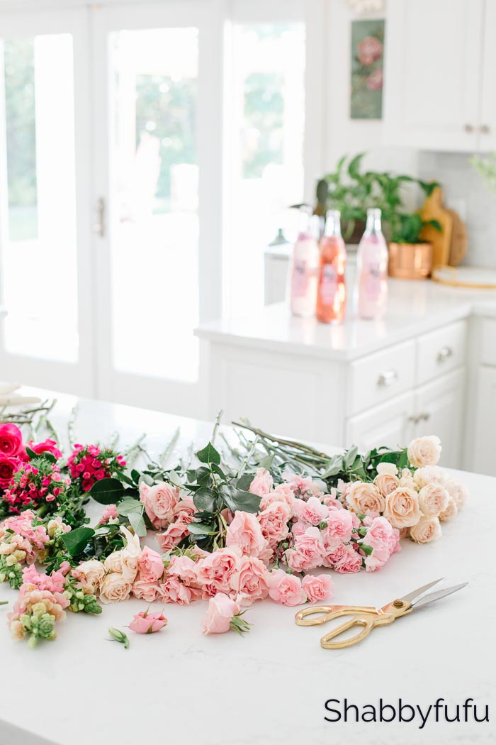 find joy spread happiness flowers on a kitchen counter