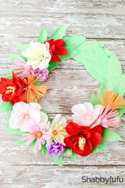 paper plate craft make a flower wreath