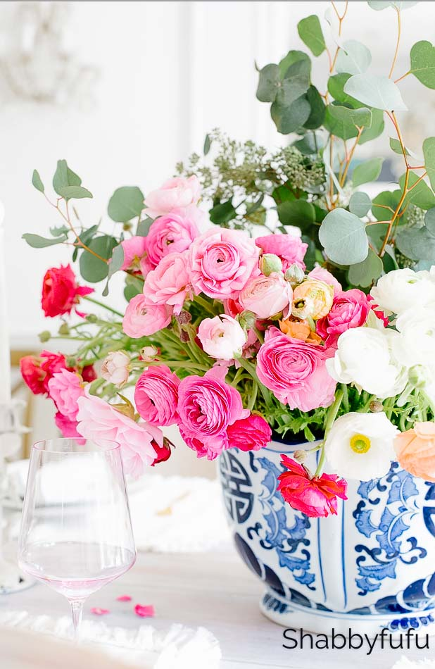 find joy spread happiness ranunculus in chinoiserie