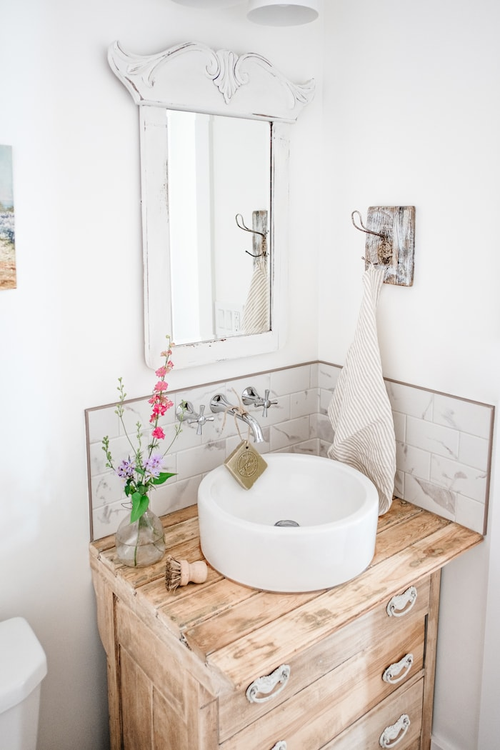 small bathroom vintage white farmhouse