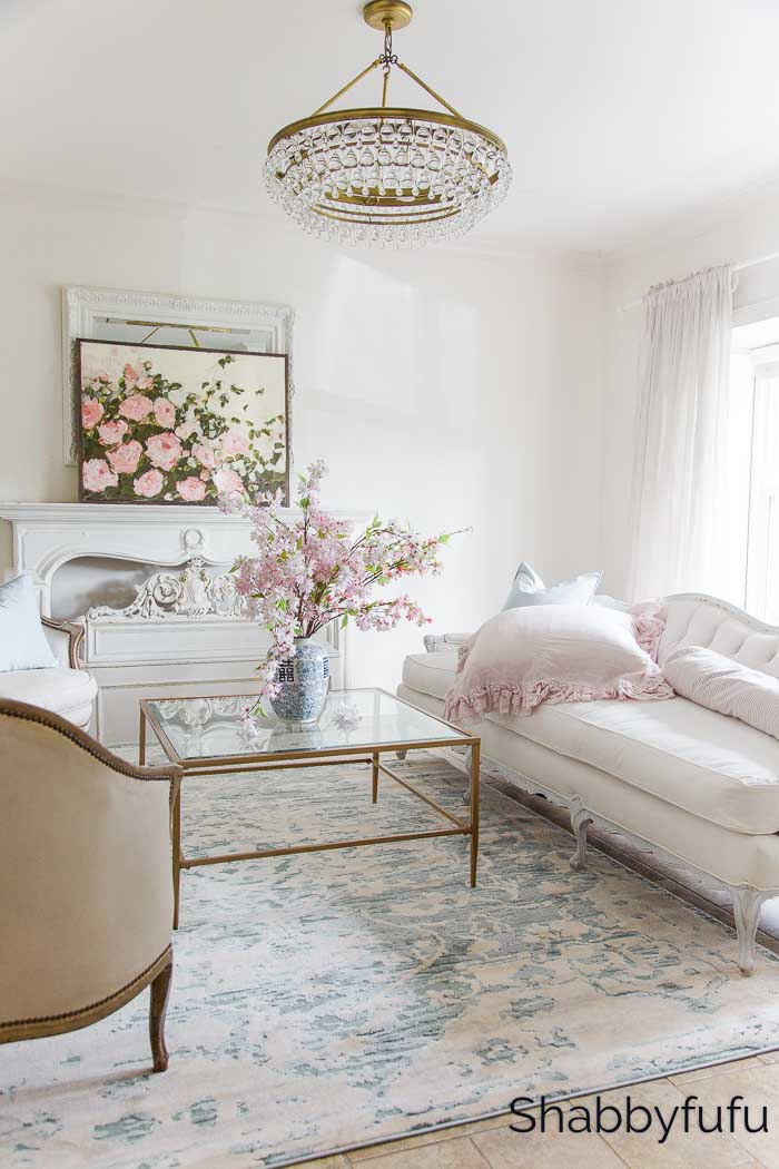spring decorating looks blue and pink living room