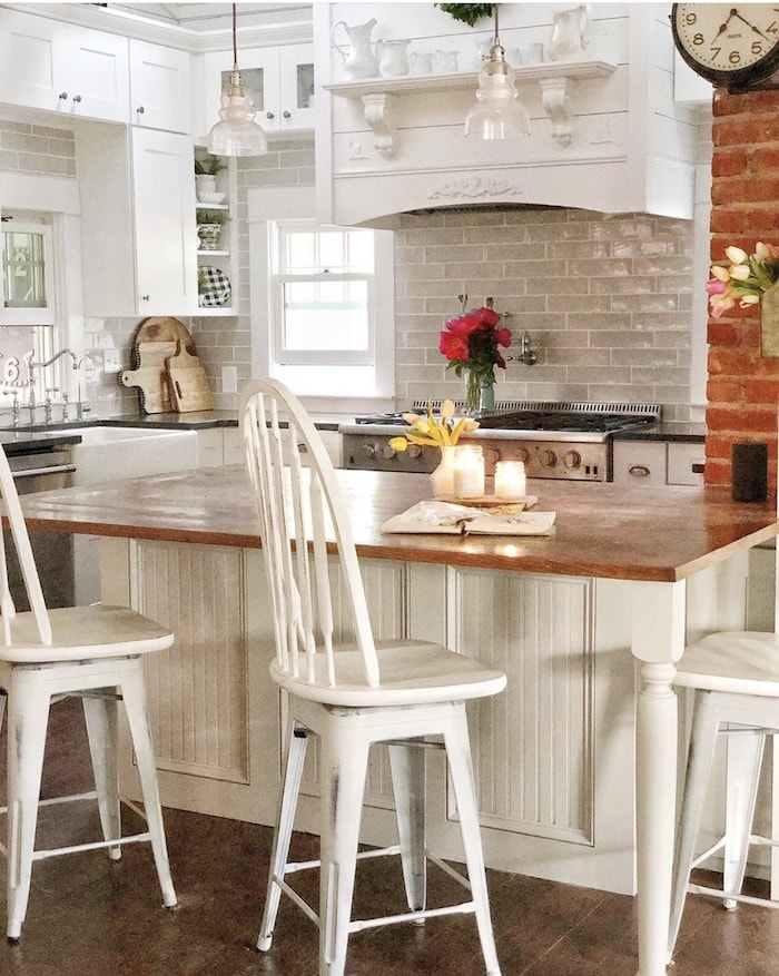 kitchen in a colorful farmhouse style home tour