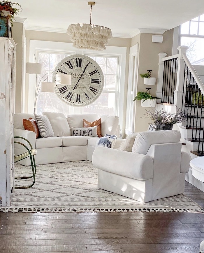 colorful farmhouse style home living room