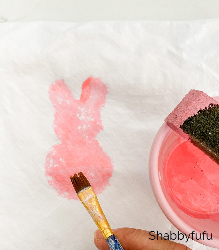 painting and stamping fabric with pink food coloring