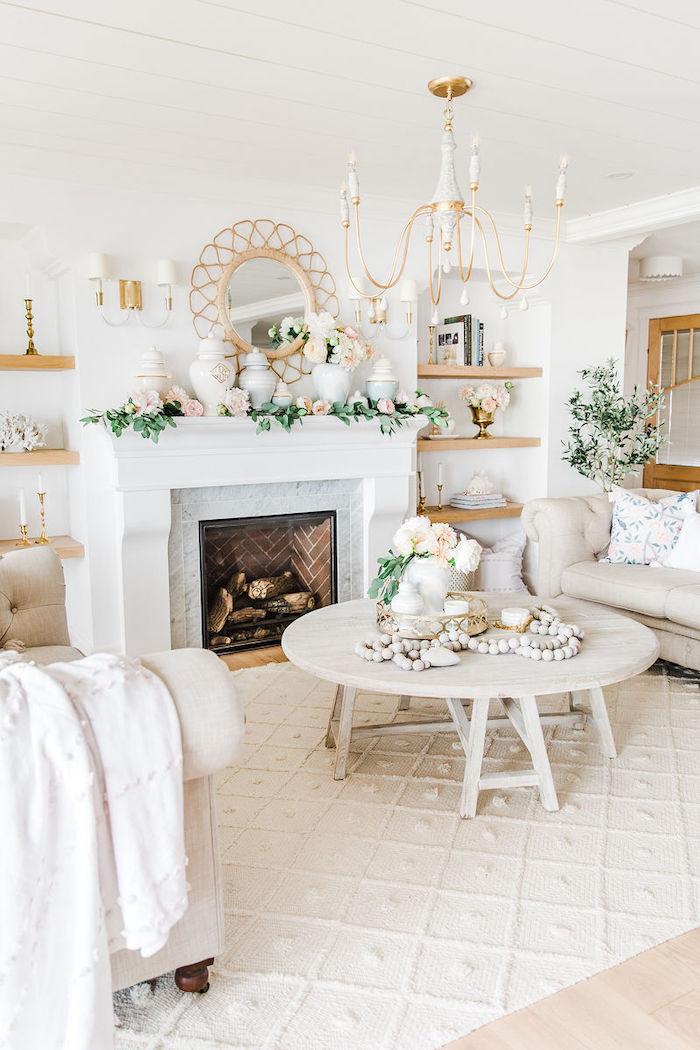 modern feminine home tour living room