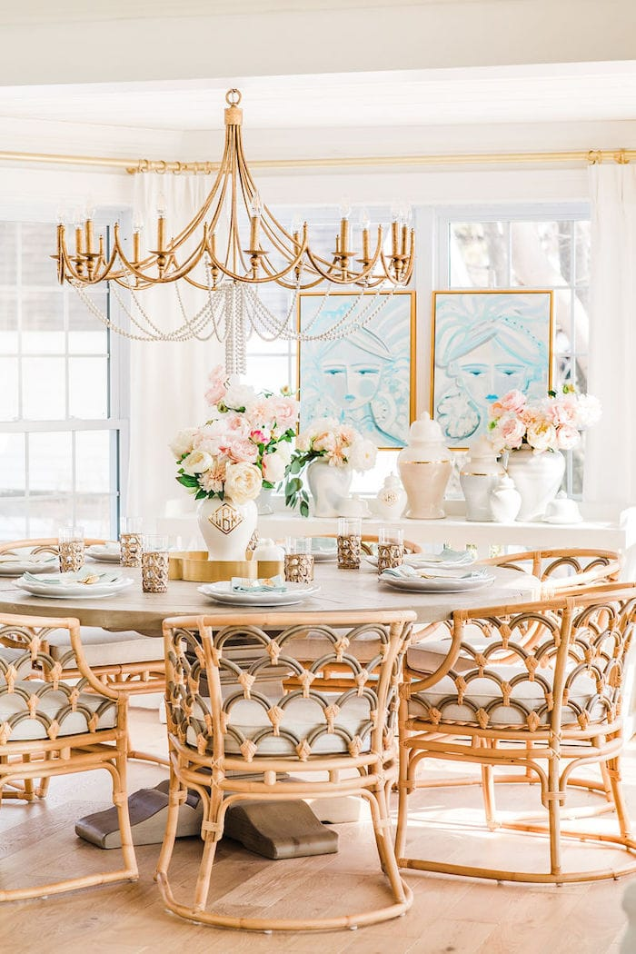coastal dining room lake house rattan chairs