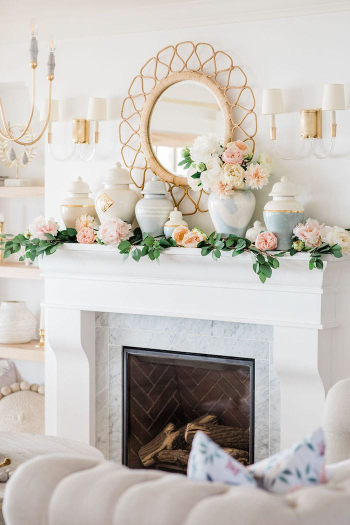 modern elegant fireplace mantel