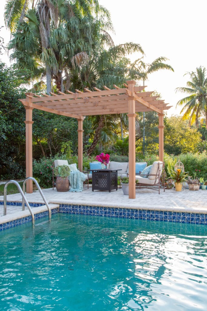 patio furniture and decor for the pool area and gazebo