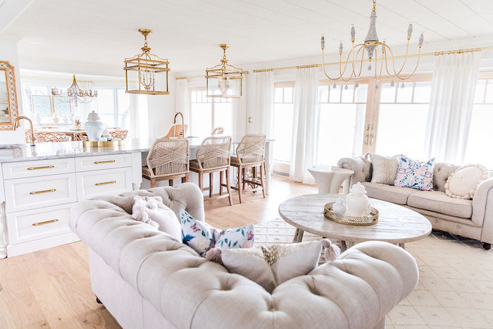 great room modern feminine home tour