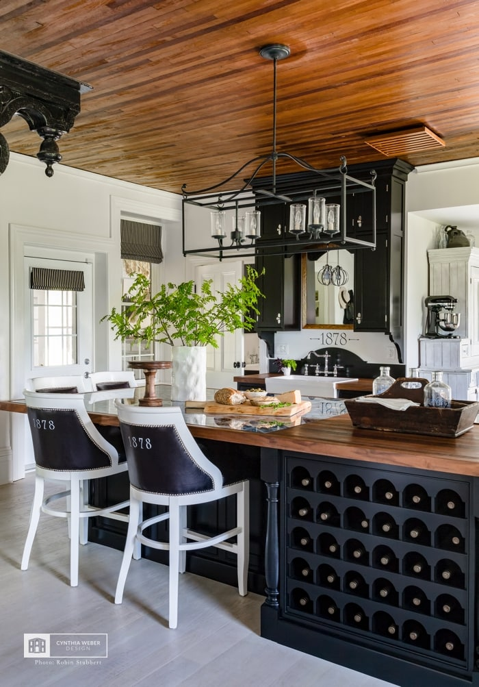 black shaker cabinets farmhouse kitchen