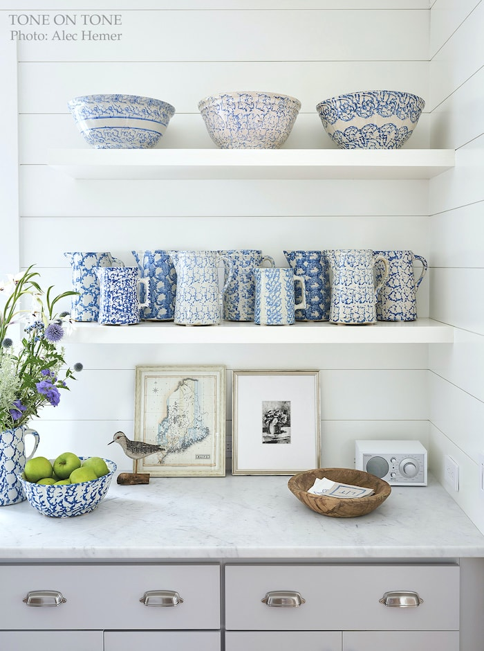 Maine cottage home tour spongeware collection