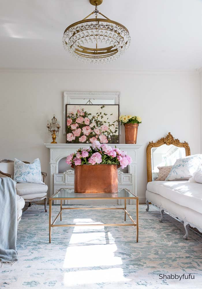 shabbyfufu living room with peonies and a peony painting