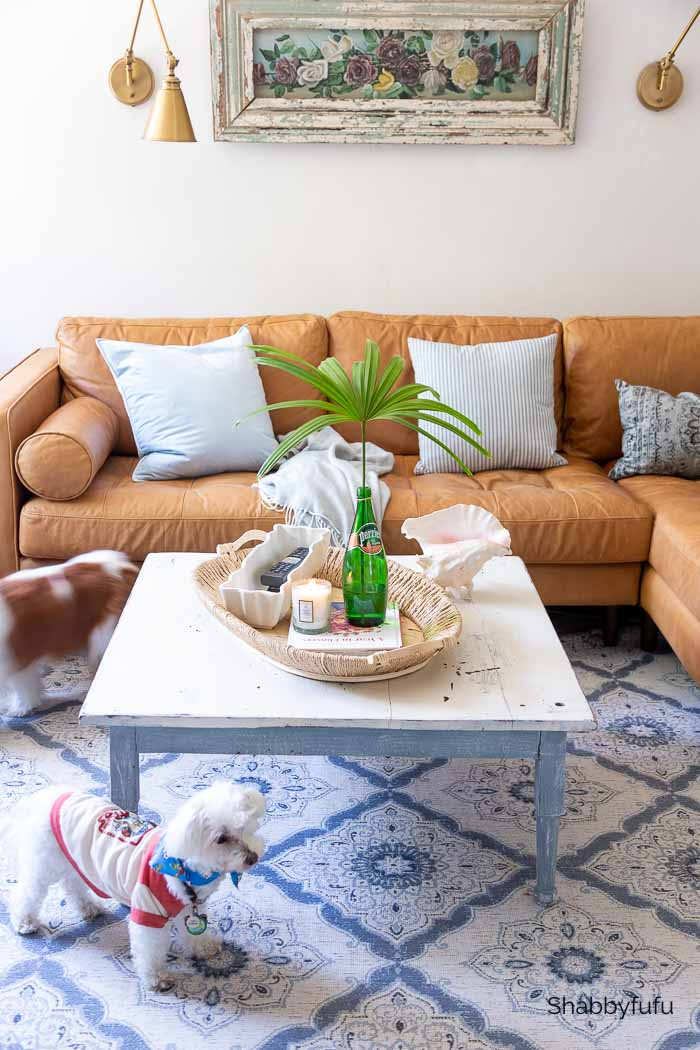 how to decorate a coffee table tray for summer in the family room