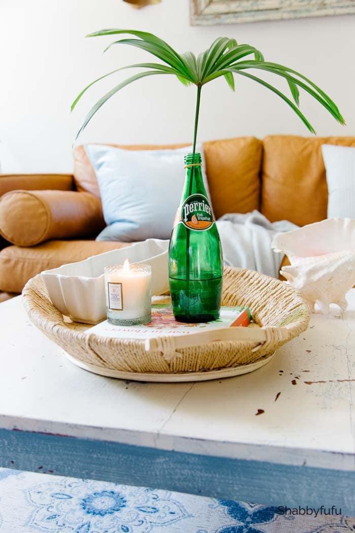 wicker coffee table tray