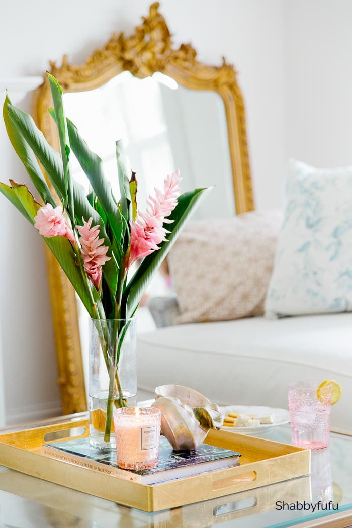 how to decorate a coffee table tray for summer