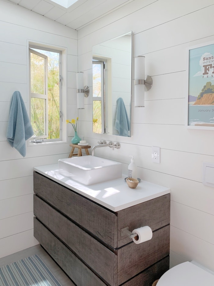 modern California bathroom with shiplap