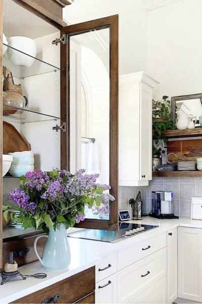 kitchen with lilacs