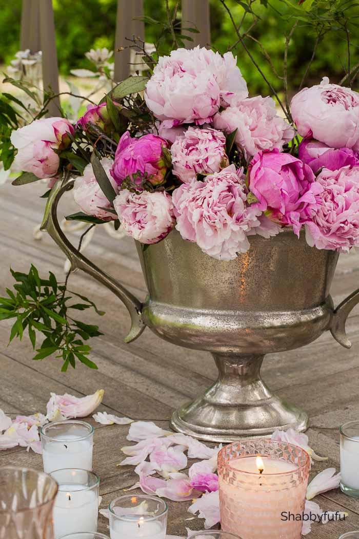 pink peonies in a trophy vase