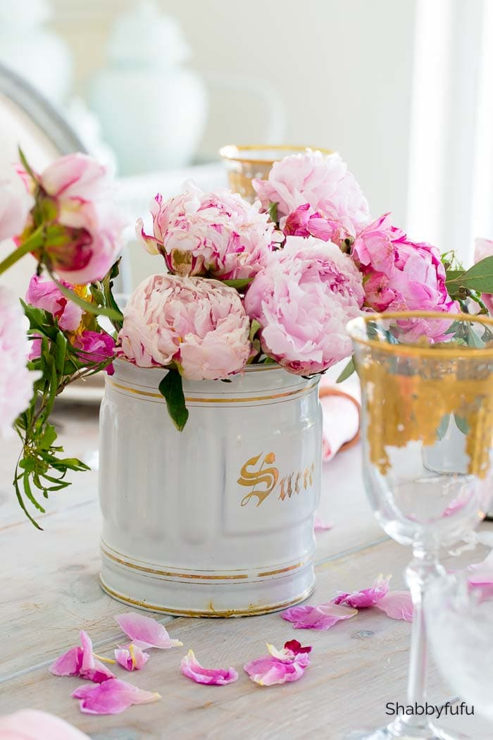peonies on the dining table shabbyfufu