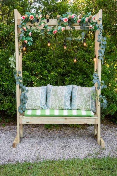 simple pergola bench with cushions
