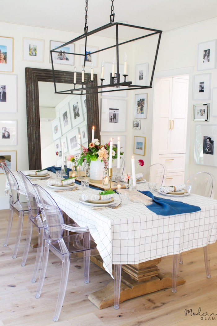 glam decor ghost chairs in dining room